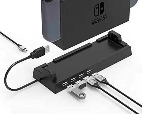 USB-hub-dock compatibel met Nintendo Switch Station, 4-Port 2.0 USB-laadstation, USB-adapter uitbreidingsplinter, USB-lader standaard voor Switch Pro Controller Gamecube Gamepad