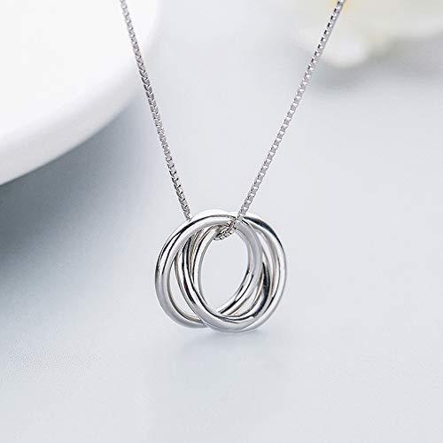 Ningz0l Halsketting voor dames, deklaag mode temperament drie ring sleutelbeen ketting geometrische hangers dames accessoires witgoud