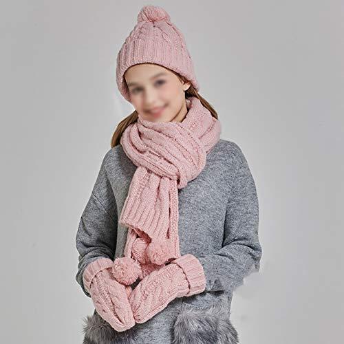 CHAXIA muts sjaal handschoen sets vrouwelijk verdikte Koreaanse versie mooi breien Kerstmis verjaardag cadeau 3-delige set 4 kleuren roze