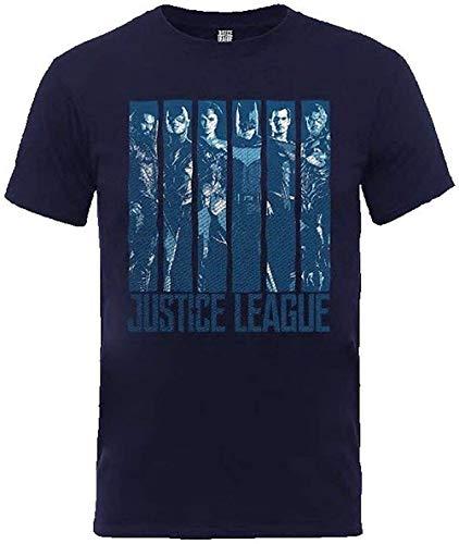 Liga de la Justicia - Distressed Personajes - Camiseta Oficial Hombre Azul - Azul, L
