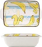 Bandeja de Fuente para Horno Pequeña cerámica Casserole plato para hornear platos para horno Cerámica para hornear Pan Lasaña Casserole Pan Individual Bakeware (Color : Color F, Size : 22X16X6cm)