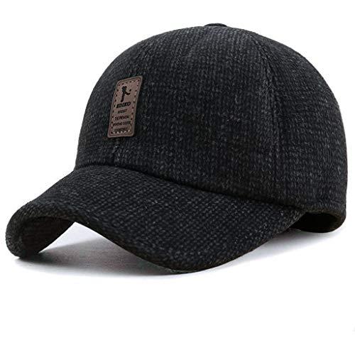Briskorry Gorra de béisbol para hombre, para invierno, resistente al frío, de alta calidad, informal, cómoda para actividades al aire libre como pesca negro L
