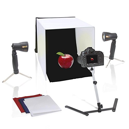 "Pyle 16"" x 16 inch Portable Tabletop Photography Studio Photo Lighting Kit - Set Includes Light Box / Tent, 2 Lamp Lights, Camera Stand & White, Black, Blue, Red Background Cloth Sheet - PSTDKT4"