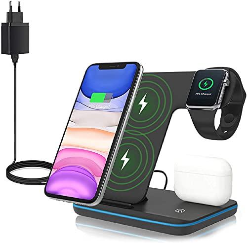 ZHIKE Caricatore Wireless, Stazione di Ricarica Rapida Qi 15W 3 in 1 con Adattatore QC3.0 per Apple iWatch 5/4/3/2/1, AirPods, Compatibile con iPhone SE 2020/11 / XS Max/XR/X/Samsung