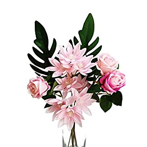Suandsu Silk Flower Arrangement Artificial Rose Spring Rain Leaves Snow Lotus Fake Flower Table Home Party Wedding Decoration