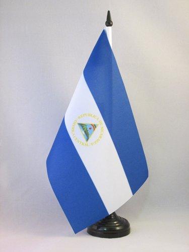 AZ FLAG Bandera de Mesa de Nicaragua 21x14cm - BANDERINA de DESPACHO NICARAGÜENSE 14 x 21 cm