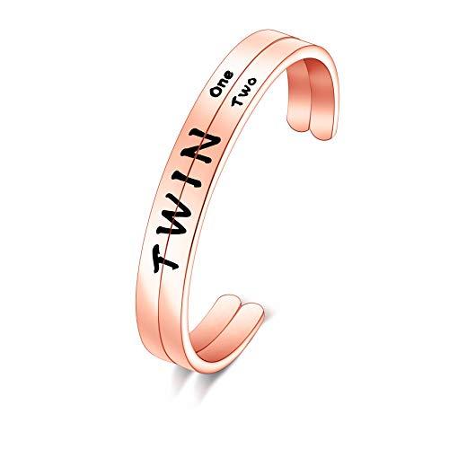 Twins Gift Twin Bracelet Twin One Twin Two Cuff Bangle (RG Bracelet)