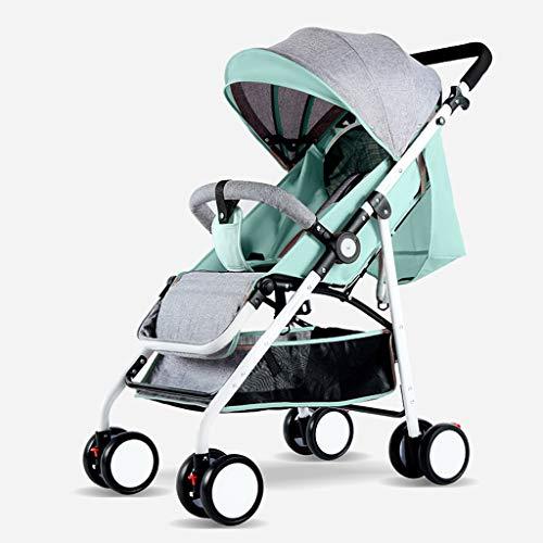 BLWX - Haute Paysage Poussette Peut s'asseoir inclinable léger Pliant bébé Parapluie Quatre Roues bébé léger système de Voyage Voiture Poussette Poussette (Couleur : Green, Taille : B)