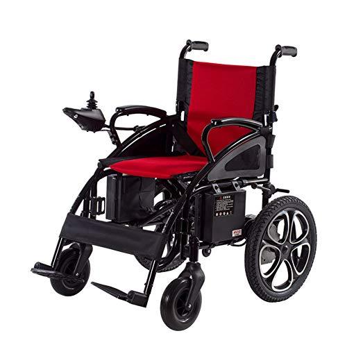 Sanhai Elektrischer Rollstuhl, Faltbarer, Leichter Tragbarer Elektrischer Rollstuhl, Elektrischer Oder Manueller Betrieb, Einstellbare Pedale, Geeignet Für Ältere Menschen Oder Patienten,Rot
