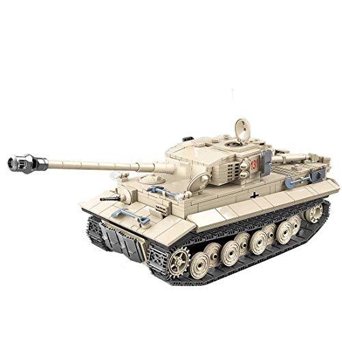 XHH Panzer Militärpanzer Modellbausatz, 1018 Stück Panzermodellbausätze Tiger Panzer 131, Kompatibel mit Mainstream-Btands (kein Kleber)