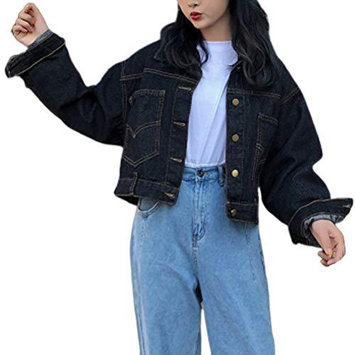 Manteau Mode Femme Elégante Veste en Jean Version Coréenne Mode Chic Début d'automne Chic Tops Style Manches Longues Lâche Court Paragraphe Denim Veste (Color : Noir, Size : S)