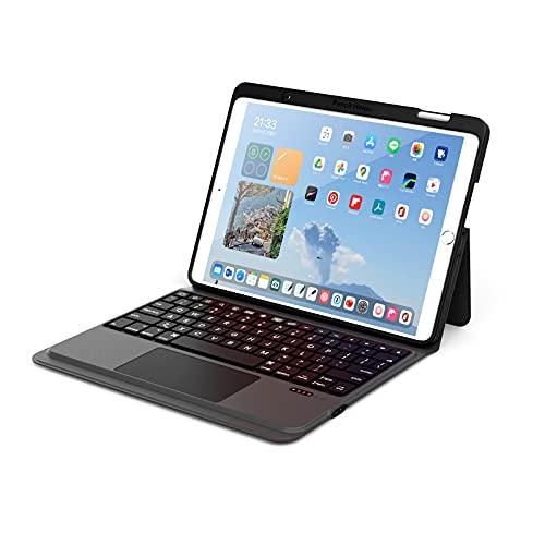 ByDiffer Funda Teclado Compatible con iPad de 10.2 Pulgadas de 8.a generación (2020), 7.a generación, Air 3, Pro 10.5 con Panel táctil y 2 Tipos de Porta lápices de Apple