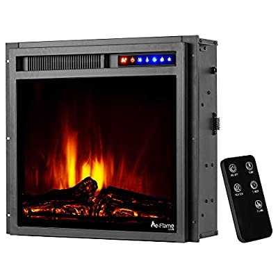 """e-Flame USA Montana 19""""x18"""" LED Electric Fireplace Stove Insert with Remote - 3D Logs and Fire (Black)"""