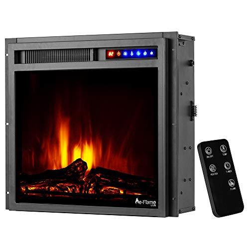 e-Flame USA Montana Elektrischer Kamin-Einsatz mit Fernbedienung, 3D-Holzscheite und Feuer, 48,3 x 45,7 cm, Schwarz
