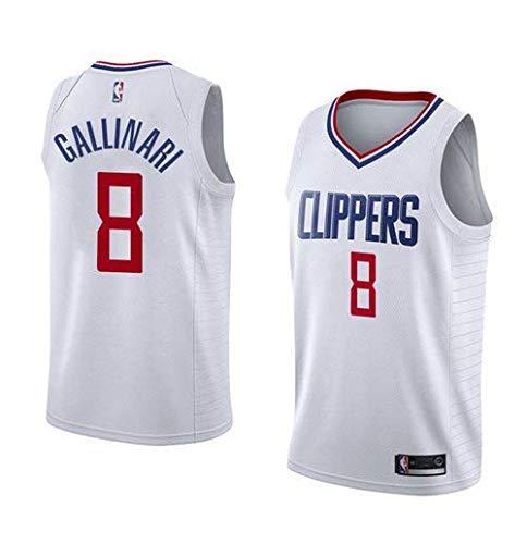 Lalagofe Danilo Gallinari, Los Angeles Clippers #8 Jersey Maglia Canotta, Stile di Abbigliamento Sportivo Palestra (M, Bianco)