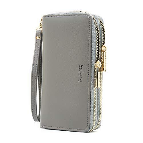 Cyanb PU Leather Wristlet Cellphone Clutch Wallet Long Purse with Dual Zipper Removable Wrist Strap Dark Grey