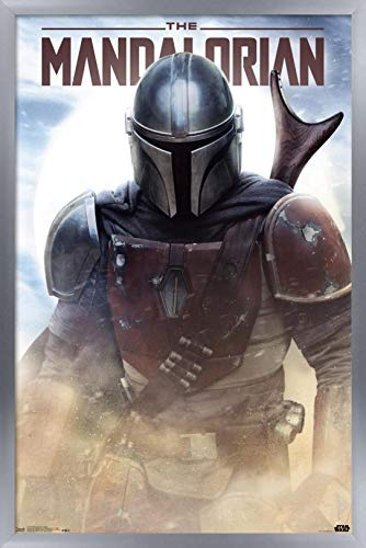 Trends International Star Wars: The Mandalorian - Battle Wall Poster, 14.725' x 22.375', Silver Framed Version