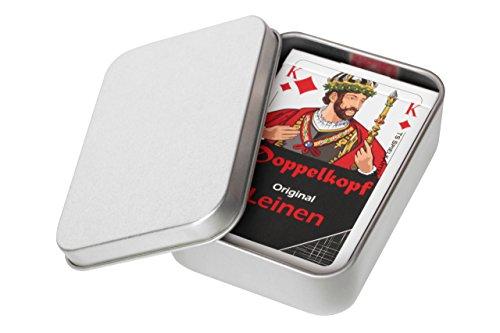 Doppelkopf Original Leinen Kartenspiel, Französisches Bild, Doppelkopfkarten im Set mit Metalldosen + Mengenrabatt (1x, + Metalldose und Karten in Faltschachtel)