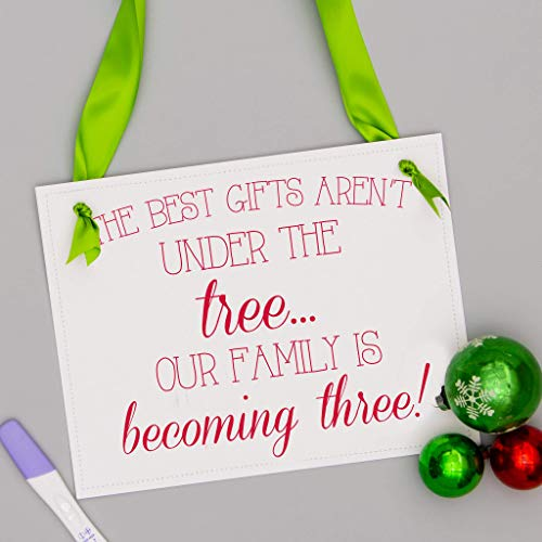 Product Image of the Christmas Pregnancy Announcement Sign for First Baby | The Best Gifts Aren't...