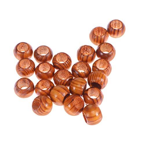 SuPVOX Perlen aus Naturholz, 100 Stück, großes Loch, rund, aus Holz, Spacer, Perlen für Schmuckherstellung, Basteln, Makramee, Armband, Halskette, 20 mm x Durchmesser 3/8 Loch