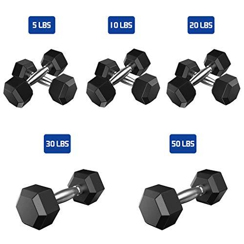 Ennglun 2 hex Rubber Dumbbells, 1 Pair of Heavy Dumbbells (5 lbs, 10 lbs, 20 lbs, 30 lbs, 50 lbs)/Adjustable Dumbbell Sets (1 PCS/50 Pound)