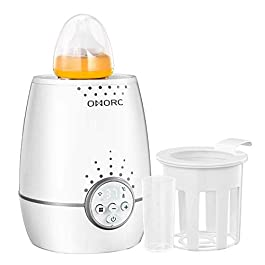 OMORC Baby Bottle Warmer, 500W Fast Warm Bottles of Breastmilk or Infant Formula, 2-In-1 Breast Milk Warmer , Baby Food Heater with LED Display Accurate Temperature Control, 100% BPA FREE