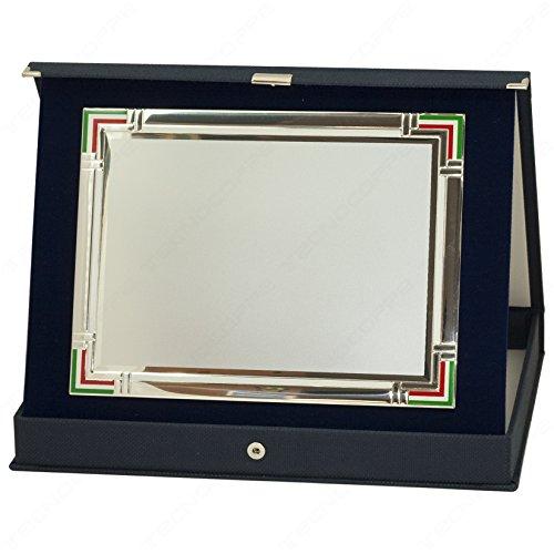 tecnocoppe Targa in Alluminio con Bordo Tricolore e Stampa Personalizzata 20x15 cm in Astuccio 26x21 cm