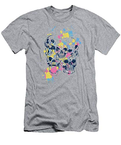 Skulls and Watercolor Spashes T-Shirt - T Shirt For Men and Woman.