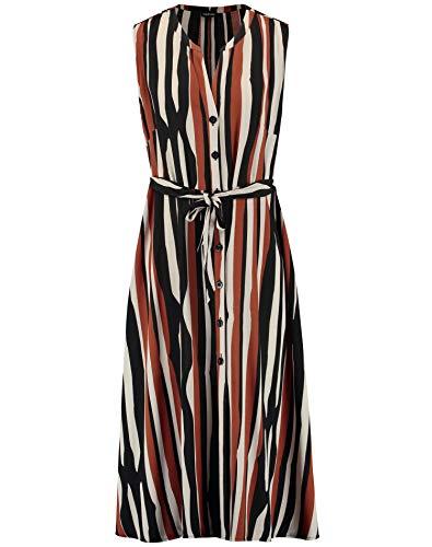 Taifun Damen Sommerkleid Im Streifen-Design Ausgestellt, Figurumspielend, Tailliert Auster Gemustert 40