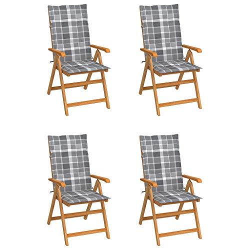 vidaXL 4X Madera Maciza Teca Sillas de Jardín Cojines Plegables Terraza Exterior Balcón Patio Sillón Asiento Butaca Muebles Mobiliario Cuadros Gris
