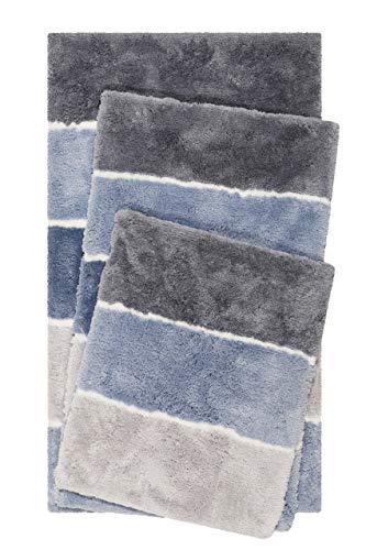 Homie Living Badteppich, Badematte kuscheliger Flauschiger weicher Flor l rutschfest und Waschbar Rio Marina (60 x 100 cm, Blau Grau)