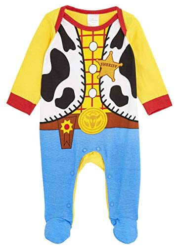 Disney Toy Story Baby Grows, 100% Cotton Baby Clothes, Woody Costume for Baby Boy, Fun Toy Story Pyjamas, Long Sleeve Footed Sleepsuit, (3-6 Months, Multicolor)