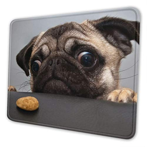 ZhiZhend Cute Gaming Mouse Pad,Anti Slip Rubber Rectangle Mousepads,Professional Customize Funny Dog Mouse Pads for Laptop Computers,Mouse Mat Pug Dog Looking for Food