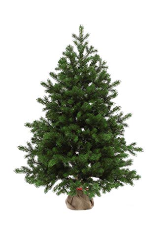 eveXmas Altair Traditional Artificial Christmas Tree 2ft / 60cm, 59 branches 100% PE Tips, Incl. Decorative Stand In Burlap