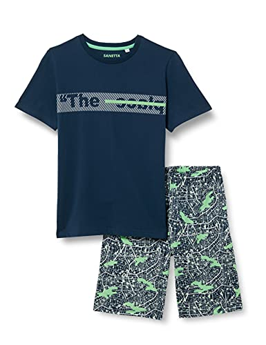 Sanetta Jungen Schlafanzug kurz blau Pyjamaset, Blue Teal, 164