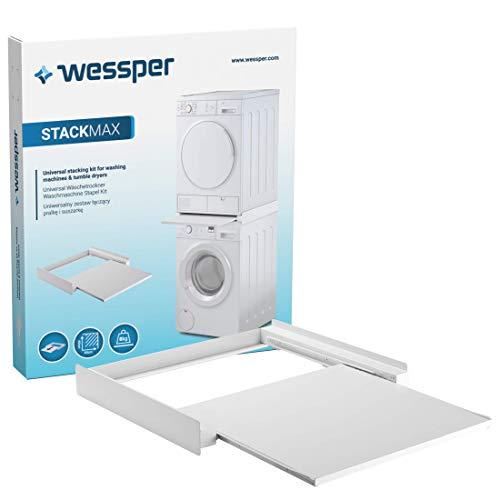 Wessper Verbindungsrahmen Universal für Waschmaschinen oder Trocknersäule Zwischenrahmen mit ausziehbarer Ablage 60x54cm rutschfest