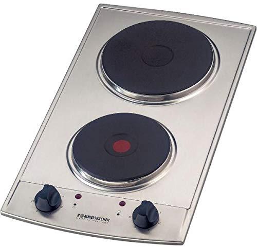 ROMMELSBACHER Domino Einbaukochfeld EBS 3074/E - Made in Germany, 2 Gussheizplatten, leistungsgesteuert über 7-Takt-Schalter, Überhitzungsschutz, 3000 Watt, Einbaumaße 270 x 500 x 81 mm, Edelstahl