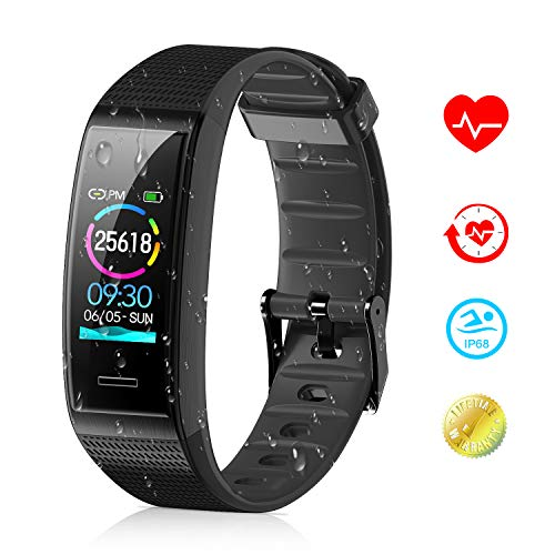 Price comparison product image Tovendor Smart Band Fitness Tracker with 0.96 Inch Color Screen,  IP68 Waterproof Sports Activities Tracker with Heart Rate and Sleeping Monitor,  Step Counter Pedometer for Women Men and Kids (Black)