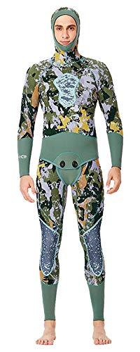 Insun Hombre Traje de Buceo Traje de Pesca en Neopreno 5mm Elástico Dos Piezas Traje de Baño para Buceo Deporte de Agua Verde Camuflaje Hombre XXL
