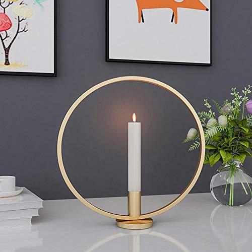 Runde Kreis Kerzenhalter Eisen Kerzenständer Craft Schreibtisch Kerzenhalter für Kerzenlicht Abendessen Dekoration(Golden)