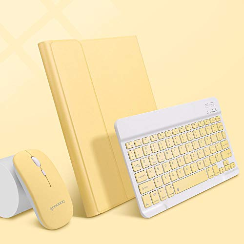 Zzyx Funda para iPad de 7ª generación con teclado para iPad 10.2 Case Pro 11 Air 3 4 10.9 Pro 10.5 Air 2 9.7 con soporte para lápices (color amarillo limón A, tamaño: 10.2 7th 8th Gen)