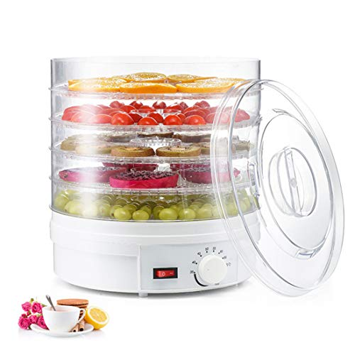 Food Dehydrator, Fruit Dryer Dehydrator 350W Large 5 Trays, Recirculation for Heat Distribution Perfect for Healthy & Natural Snacks, Dried Fruit for Fruits, Vegetables, Herbs
