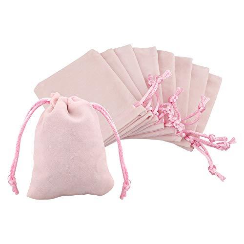 jijAcraft 20Pcs Bolsas de Terciopelo con Cordón 7x9cm Bolsas de Joyería, Bolsas de Regalo de Boda Bolsas de Dulces - Rosa Claro