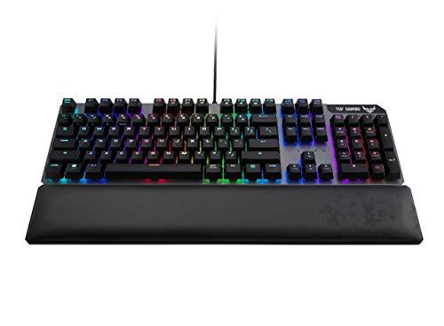 ASUS TUF K7 Tastiera Gaming meccanica RGB Aura Sync con switch ottici, in alluminio, resistente all'acqua, tasti multimediali e poggiapolsi integrato in pelle [Layout Italiano]