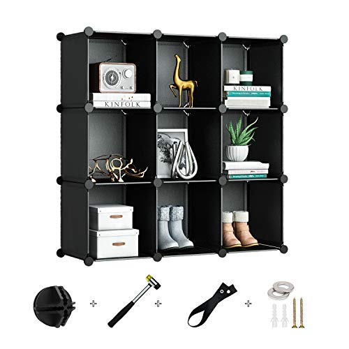Greenstell 9 Cubes Storage Organizer,DIY Plastic Stackable Shelves Multifunctional Modular Bookcase Closet Cabinet for Books,Clothes,Toys,Artworks,Decorations (Black)