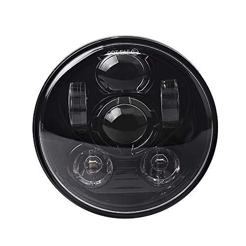 5.75 Inch LED Headlight for Harley Davidson Sportster Dyna Street Bob Triple Low Rider Wide Glide Iron 883 Headlamp(Black)
