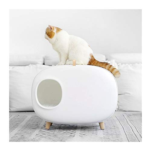 HAIBING Arena for Gatos con Pala, Sanitario Gato Bandeja Higiénica Arenero Gatos Cajas De Aseo, Cat Litter Box Extraer Fácil de Limpiar (Color : White, Size : 604X457X385Mm)
