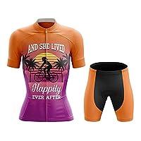 男性と女性のためのサイクリングジャージ夏の半袖スーツの薄いセクション通気性と快適なサイクリングスウェット(XS-4XL) orange-L