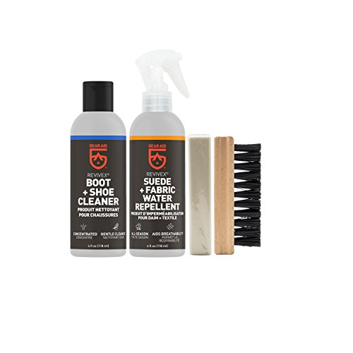 GEAR AID Revivex Suede, Nubuck and Fabric Boot Care Kit with Spray, Cleaner, Brush and Eraser