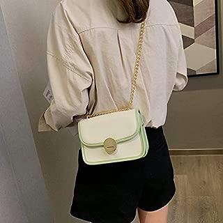 WTYD Single Shoulder Bag Lock Buckle PU Leather Single Shoulder Bag Ladies Handbag Messenger Bag (Black) (Color : Green)